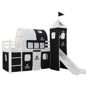 LIT MEZZANINE Lit mezzanine d'enfants avec échelle Pin et tobogg