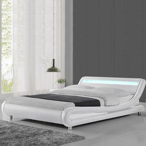 STRUCTURE DE LIT Lit led design Julio - 140x190 - Blanc