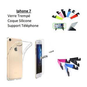 COQUE - BUMPER Accessoire Iphone 7, Coque Silicone Film Verre Sup