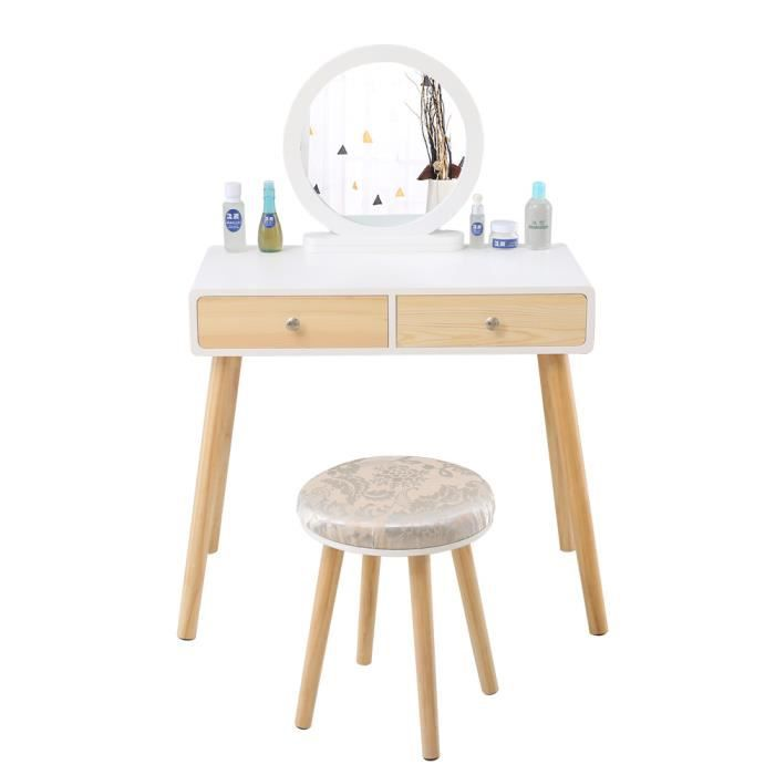 Table de Maquillage En Bois Avec Miroir Rond Design Moderne-Pratique Et Stable 80x40x125CM Blanc