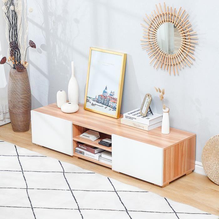AG Meuble TV salon en MDF - 140*40*31cm - Blanc et décor bois