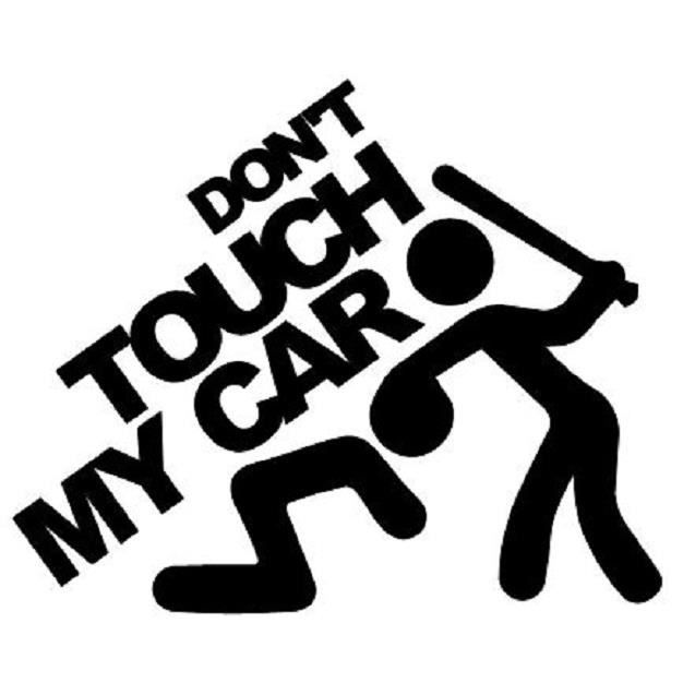 Stickers Tuning Tout Support Logo - Don't Touch My Car - Colorie Fond Noir
