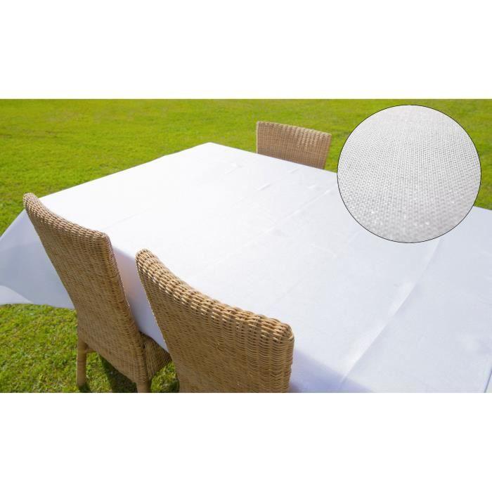 SUCRE D'OCRE Nappe de table rectangle BELLA 160x300 cm - Blanc