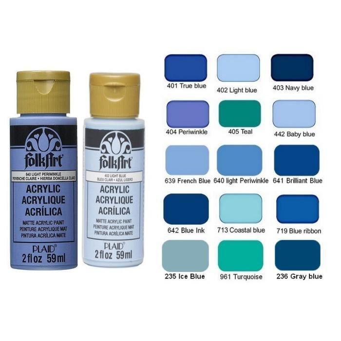 Peinture crémeuse nuancier Bleu Folkart Acrylique, flacon de 59 ml au choix, pour bois, carton, plâtre etc - 236: Gray blue - Gris