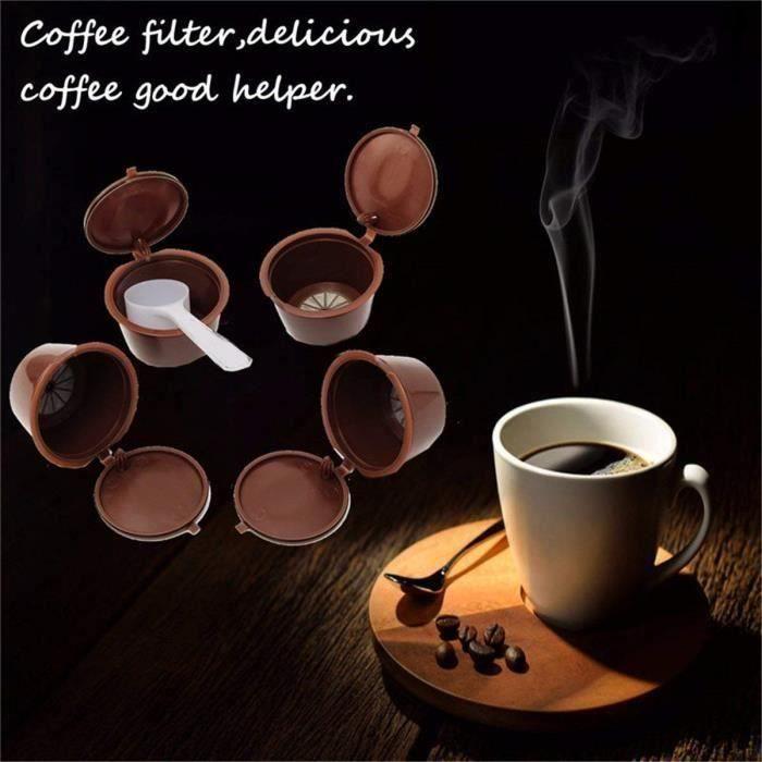 5 Pcs Capsule Filtre de Café Réutilisables Compatible Nescafe Dolce Gusto 1 Cuillere à Cafe 1 Brosse A Nettoyer