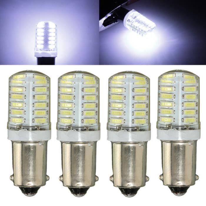 4pcs LED Ampoules BA9S 3014 24 SMD Blanc côté lumineux - intérieur voiture silice Shaïs gel Canbus Sh05246