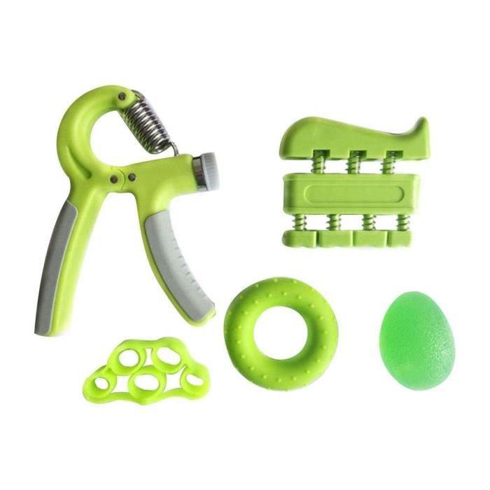 Poignée d'exercices de musculation Gripper ou Hand grip 5 Pièces Bras Exerciseur Produits De Fitness Entraînement Set vert