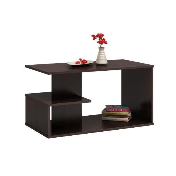 CARINA - Table basse moderne - 91x51x40 - Avec rangements - Table à café - Wengé