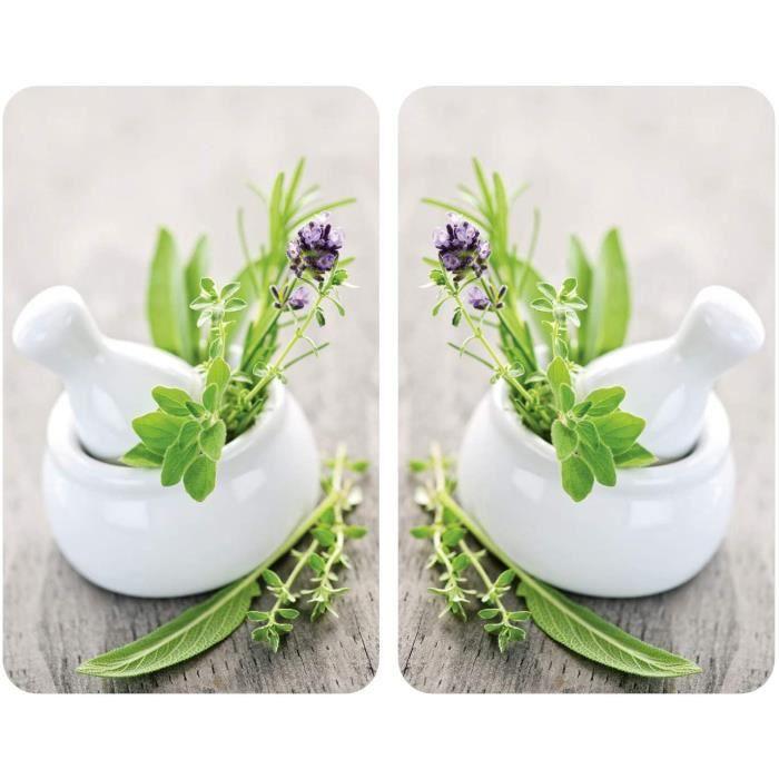 CACHE PLAQUE Plaque de protection cuisson en verre trempeacute herbes lot de 2 protection tous types de plaque70