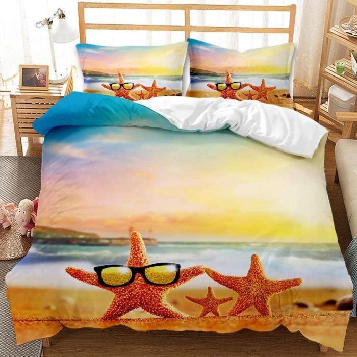 Parure De Lit étoile de mer Coucher de Soleil Couleur Housse de Couette- Fermeture éclair pour Adulte et Adolescents-135x200cm[101]
