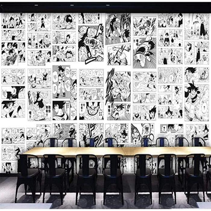 3D Style Japonais Noir Et Blanc Dragon Ball Dessin Animé Papier Peint Enfants Chambre Chambre Manga Papier Peint 140(l) x100(H[154]