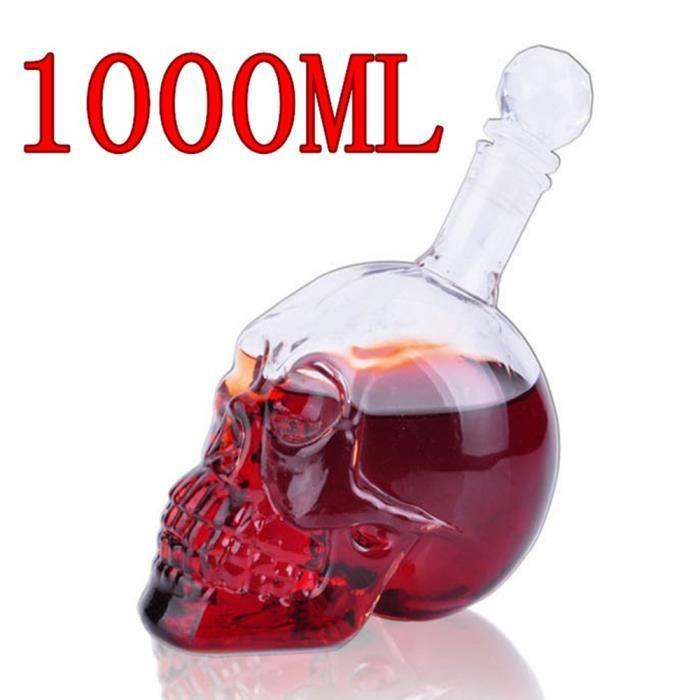 Tire-Bouchon,Créatif crâne verre décanteur whisky Vodka cristal bouteille esprit verre Transparent vin boire verre - Type 1000ML