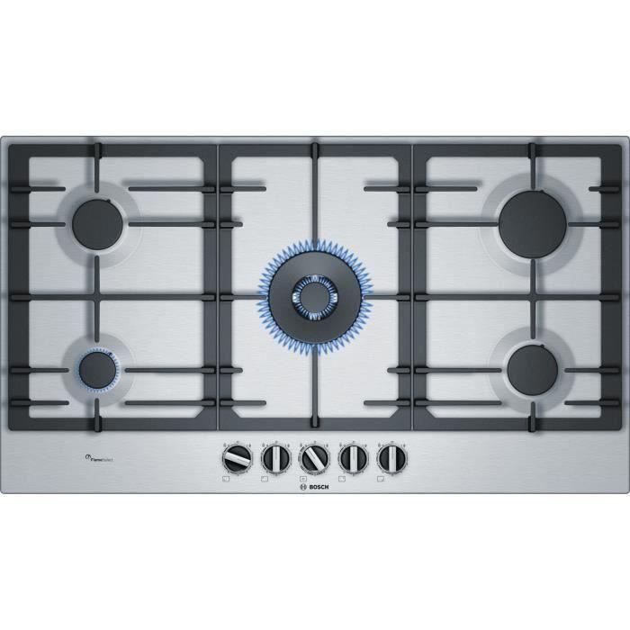 Bosch Serie 6 PCR9A5C90D, Intégré, Cuisinière à gaz, Céramique, Noir, Acier inoxydable, Fonte, 1000 W