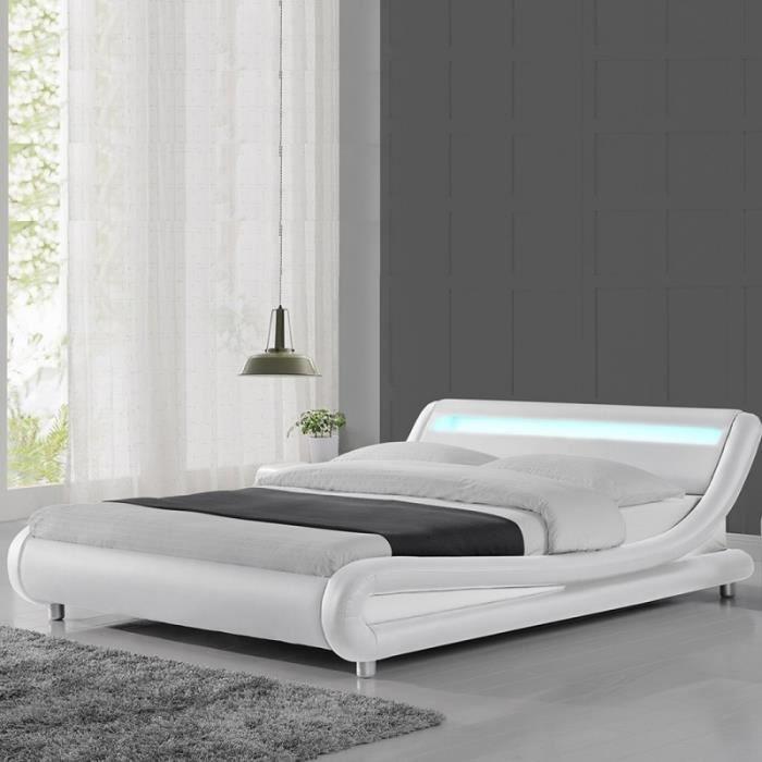 Lit led design Julio - 140x190 - Blanc