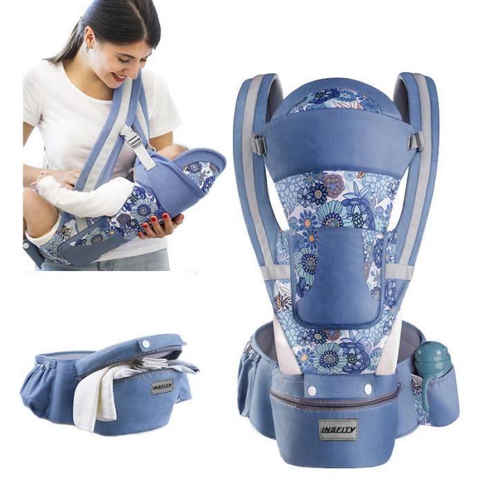 0-48 Mois Porte-bébé Multifonctionnel Ventral et Dorsal Voyage Facile Pour Les Bébés Doux Sécurité Pratique - Bleu Denim