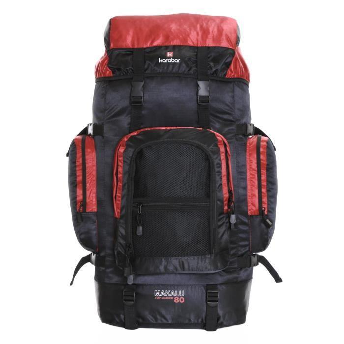 Karabar Makalu Sac à dos de voyage 80 litres, noir - rouge