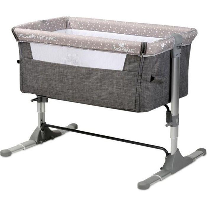 Berceau Bébé,Berceau Pliable,Lit bébé, Cododo avec un Sac et Matelas Sleep and Care gris Lorelli