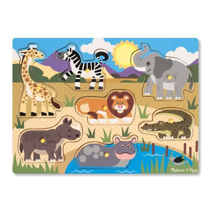 MELISSA & DOUG Puzzle En Bois À Boutons - Safari