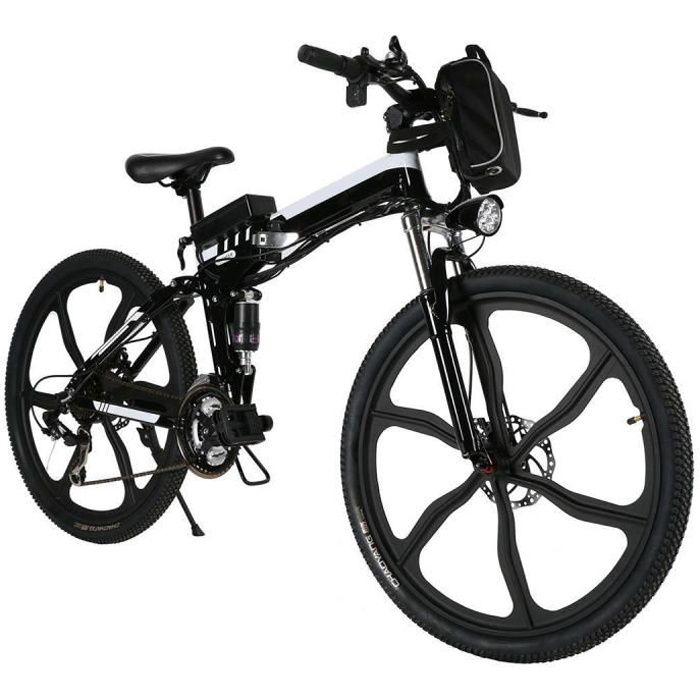 Vélo de montagne de puissance électrique pliable vitesse avec batterie Lithium-Ion noir
