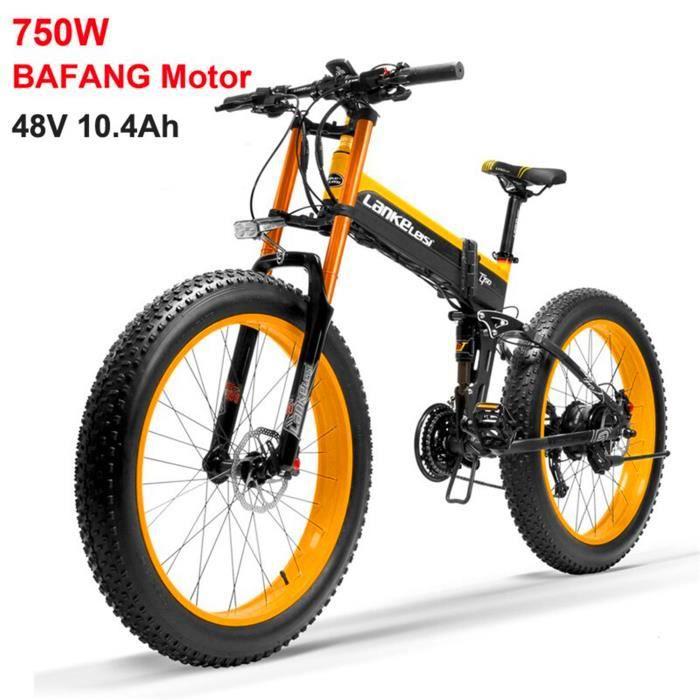 T750plus Vélo électrique à assistance pédale de 26 pouces, batterie 48V 10.4Ah, moteur 750W BAFANG (jaune)
