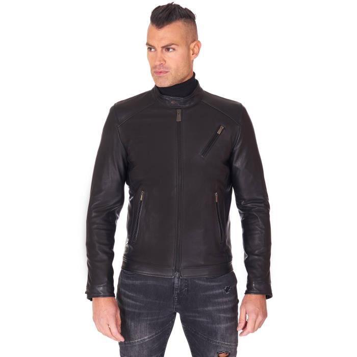 Blouson cuir noir veste moto cuir d'agneau vintage