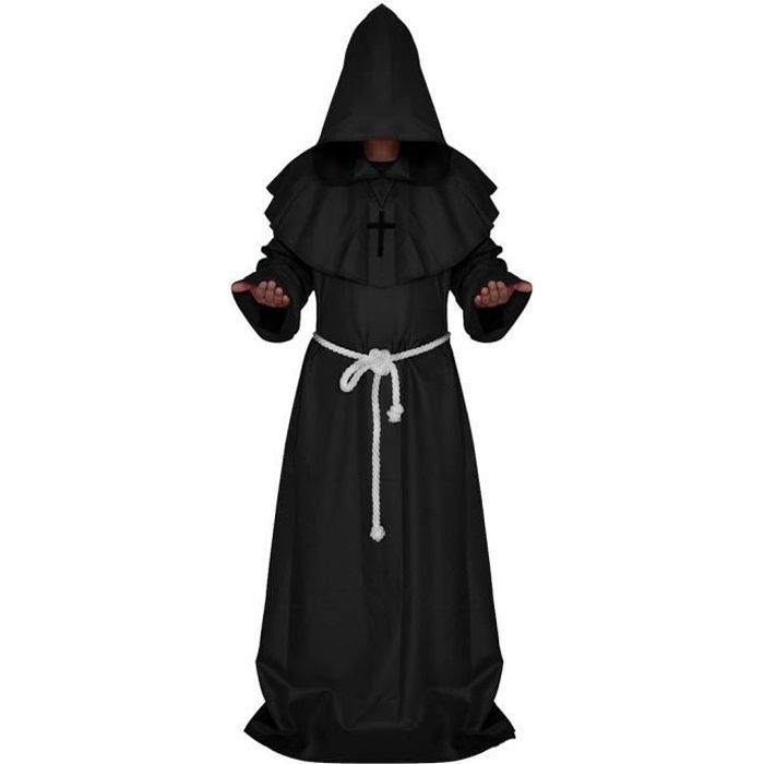 Moine médiéval Robe Cosplay Halloween capuche cape Costume Cape, noir
