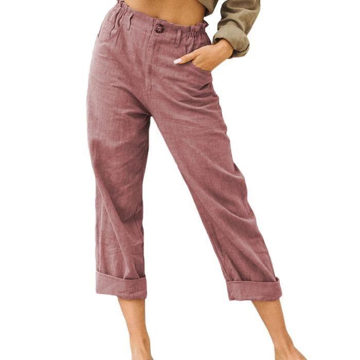 Pantalon en Lin Décontracté pour Femme Ete Causal Taille Haute Taille Élastique Ample Pantalon Fluide 3-4 Longueur Pants,Vin Rouge