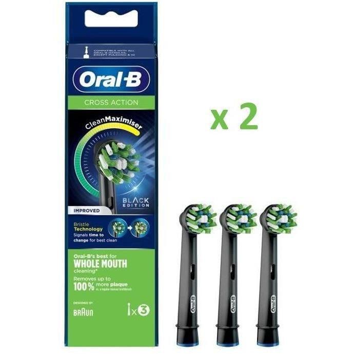 Oral-B - Pack de 2 : CrossAction Brossette Avec CleanMaximiser - 3 brossettes (x2) - Noire