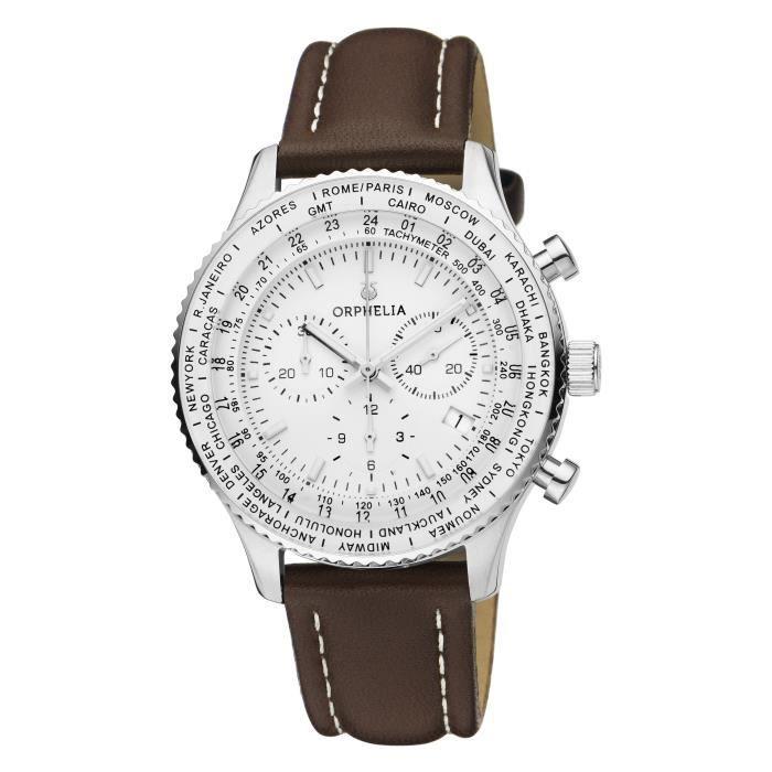 ORPHELIA-Montre Chronographe pour Homme à movement Quartz en Cuir-81704