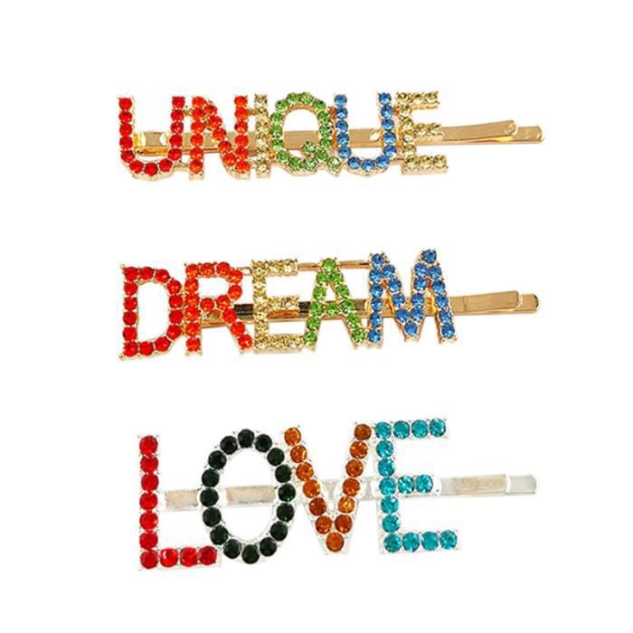 3pcs coloré strass incrusté de pinces à mots anglais Barrettes Adorable épingles PINCE - BARRETTE - CHOUCHOU - ELASTIQUE