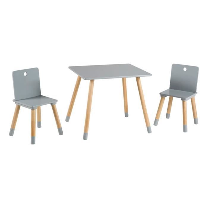 ROBA Ensemble Table + 2 chaises pour enfants en bois, gris laqué