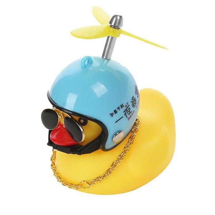 petit canard jaune Décoration pour le voiture et vélo -coupe-vent caneton avec casque et 1 pièces collier lunettes de soleil