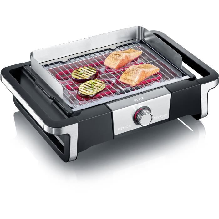 SEVERIN PG8112 Barbecue de table -STYLE- - 2 500 W - de 0°C à 320°C en 10 min - bac à eau réducteur de fumée et d'odeurs - noir/inox