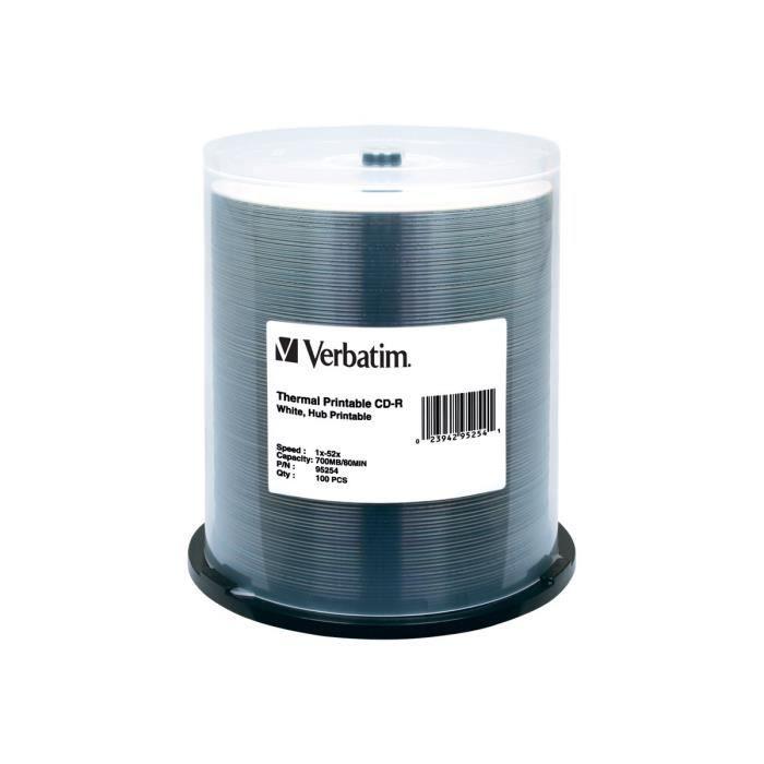 Verbatim 100 x CD-R (80 min) 52x blanc surface imprimable par transfert thermique, noyau intérieur imprimable spindle