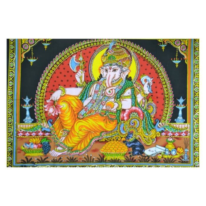 Tenture murale indienne batik multicolore motif ganesh for Decoration murale indienne