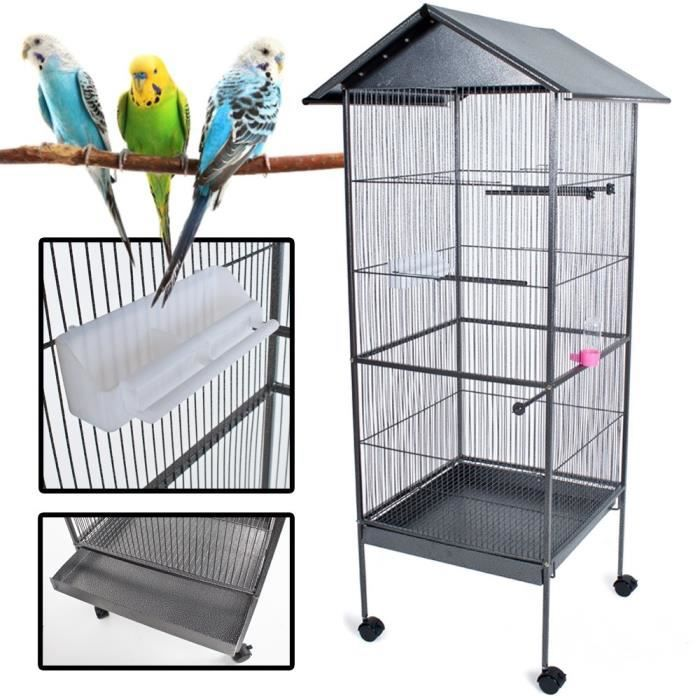 cage oiseaux roulette voli re avec perchoir achat vente cage cage oiseaux roulette v. Black Bedroom Furniture Sets. Home Design Ideas
