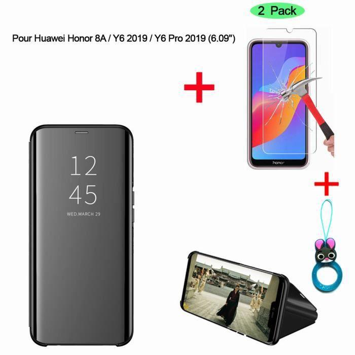 HOUSSE - ÉTUI Noir Etui Coque Huawei Y6 2019 Clear View Etui à R