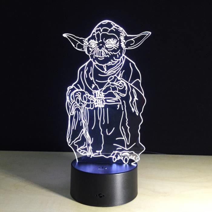star wars 3d led yoda veilleuse changement de couleur 7 t l commande lumi re chambre achat. Black Bedroom Furniture Sets. Home Design Ideas