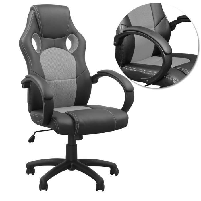 CHAISE DE BUREAU MCTECH chaise de bureau, gris noir, Accoudoirs rég