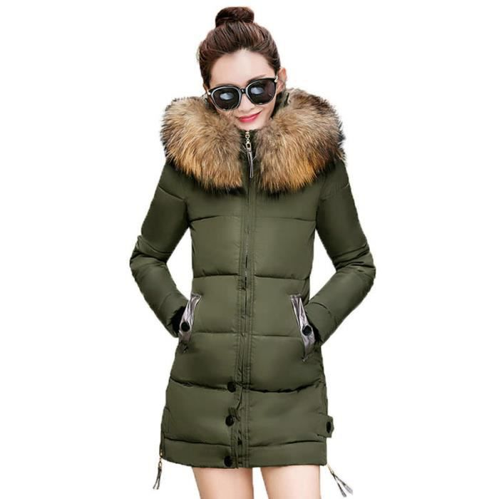 à La moyenne et femme Mince Section luxe fourrure longue Doudoune Marque Grand col en capuche femme chaud mode de Épais blouson qSUGMVzp