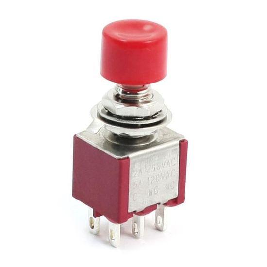 sourcingmap 5pcs LED rouge auto-bloquant SPDT Commutateur /à bouton poussoir NO//NF 12V UL homologu/ée