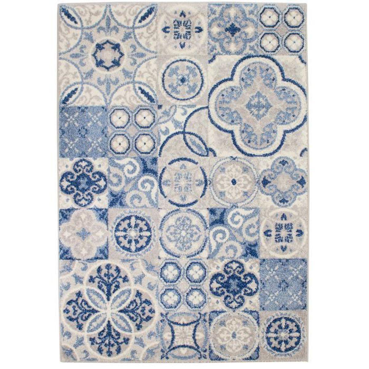 Tapis Effet Carreaux De Ciment karo tapis 120x170cm effet carreaux de ciment - achat