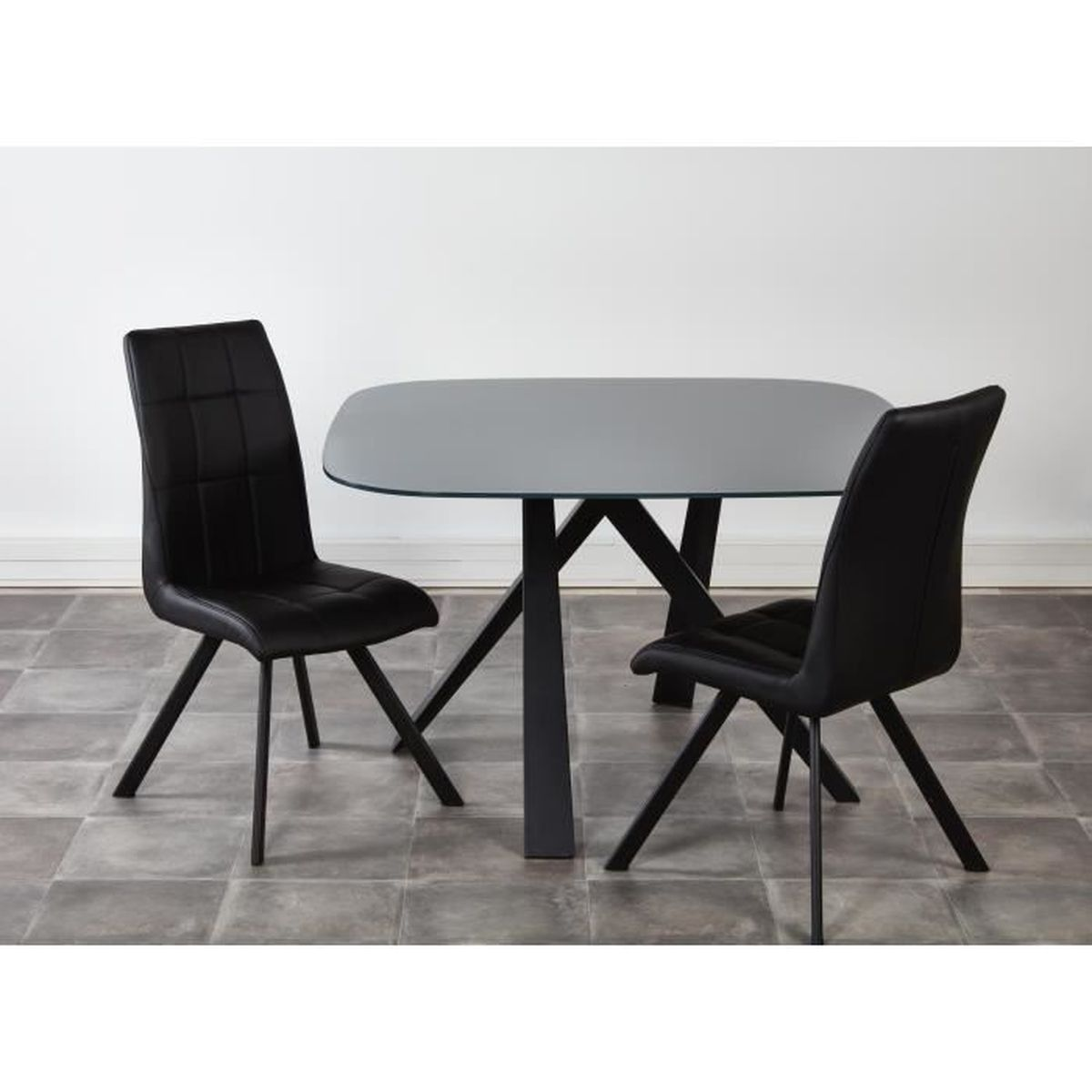 Ensemble table manger 2 chaises voldoy noir achat for Ensemble table a manger
