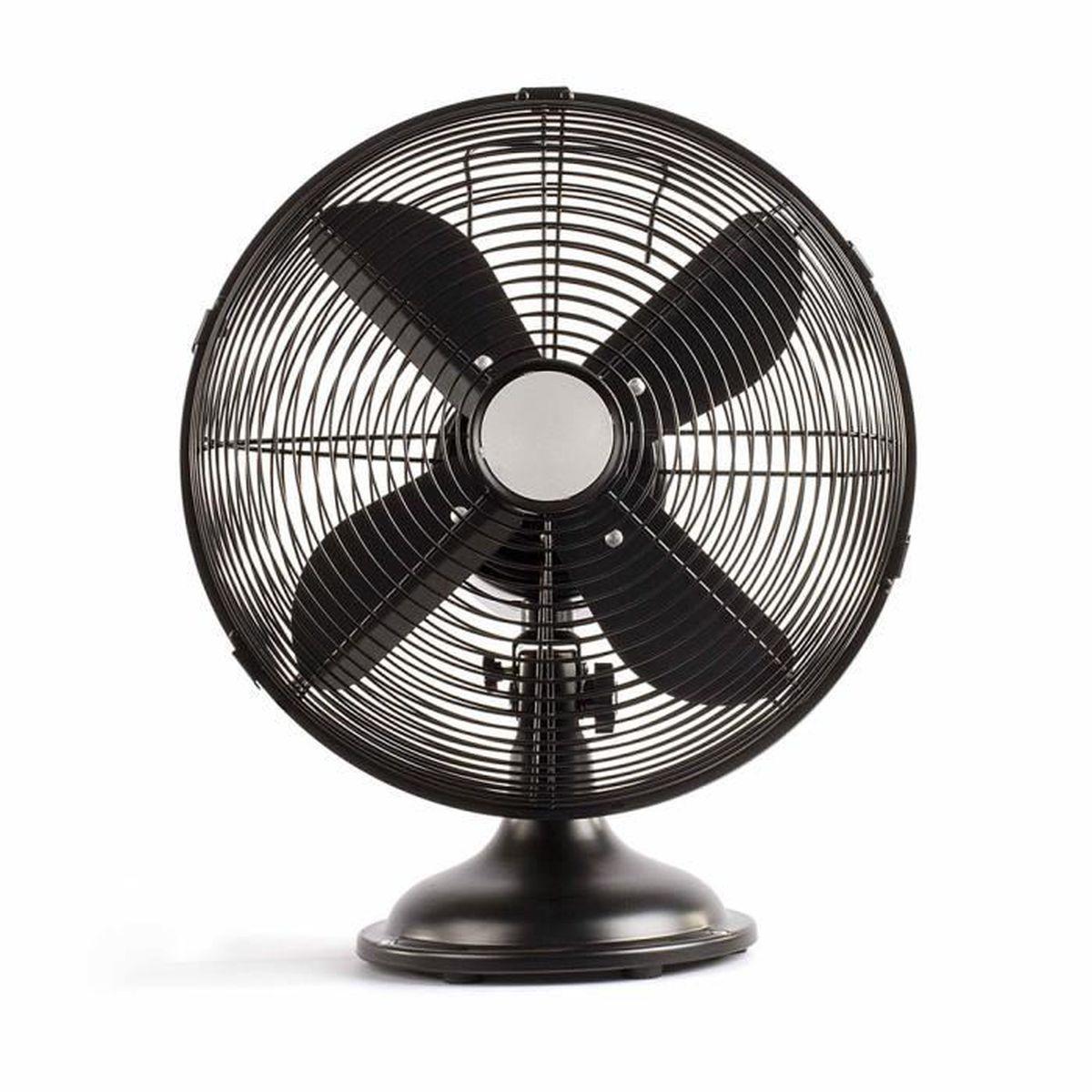 pales a/érodynamiques et silcencieux 40W Turbo Fan Trois vitesses Ventilateur de table 35 cm fonction oscillation 85/° noir//argent