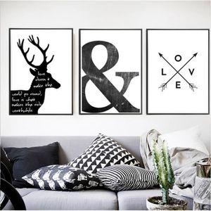 OBJET DÉCORATION MURALE Abstrait minimaliste symbole toile peinture noir b
