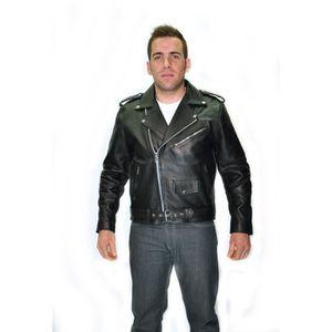 BLOUSON - VESTE BLOUSON NOIR MOTO BIKER CUIR HOMME PERFECTO XL