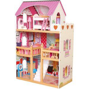 MAISON POUPÉE maison de poupée avec 17 pcs meubles
