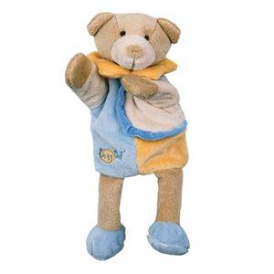 DOUDOU Babynat Doudou Ours marionnette bleu 25 cm Les dou