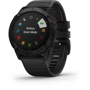 Montre connectée sport Garmin Fenix 6X Pro noir avec bande noire, montre