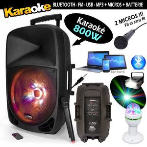 PACK SONO KARAOKÉ ENCEINTE AMPLIFIÉE 800W PORTABLE + USB MP3
